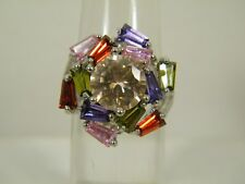 RING:  SZ 7, NEW CHAMPAGNE RUBY PINK GREEN AMETHYST CLUSTER 925 STERLING SILVER