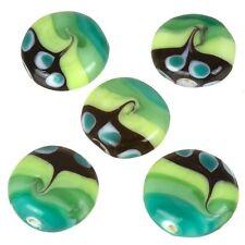 Green seawave Con Motivi Piatti Disco Perle Di Vetro 20 mm Confezione da 5 (C26/2)