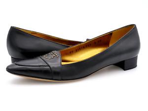 Salvatore Ferragamo Womens 7 AAA Alissa Black Slip On Moc Toe Nero Calf Loafers