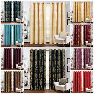 Luxury Jacquard Curtains Eyelet Ring Top Fully Lined Bedroom Curtain + Tie Backs