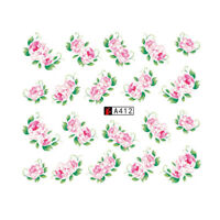 Nail Art Water Decals Stickers Transfers Dusty Pink Flowers Rose Floral (A412)