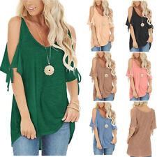 Women Summer V-Neck Off-The-Shoulder Solid Slim T-Shirt Casual Blouse Loose Tops