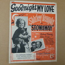 song sheet GOODNIGHT MY LOVE Shirley Temple in Stowaway 1936