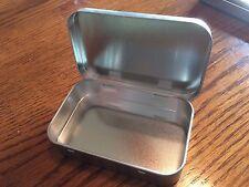 Blank Altoids Type Metal Tin Box Survival Kit Container EDC Char Cloth Hinged