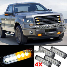 4X 6 LED Amber&White Emergency Hazard Warning Strobe Beacon Caution Light Bar#93