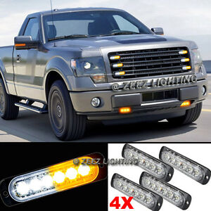 4X 6 LED Amber&White Emergency Hazard Warning Strobe Beacon Caution Light Bar#92