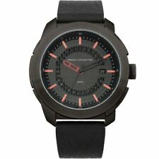 French Connection Mens Watch Black Dial and Black Leather Strap FC1189RB