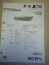Sony Service Manual ~ MDS-JE700 Minidisc Deck ~ Original ~ Reparatur