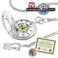 Kansas City Railroad Pocket Watch- Antique Style - in Silver Tone
