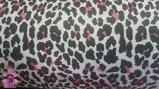 Pink and White Cheetah Print on White Cotton Flannel Fabric By The Yard