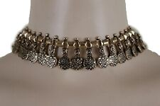 Party Women Rusty Gold Metal Fashion Jewelry Set Choker Necklace Circles Charms