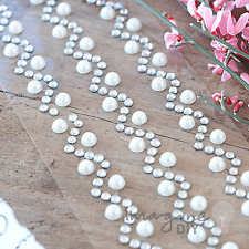 Chevron Self Adhesive Pearl and Crystal Stickers - Flat-back, Crystal, Pearl