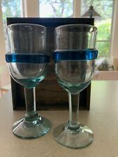 SET OF 2 MEXICAN HAND BLOWN WINE GLASSES W/ TURQUOISE RING