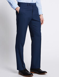 M&S COLLECTION Indigo Textured Tailored Fit Travel Trousers  PRP £79