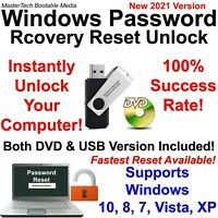 Windows Password Reset Recovery Unlock DVD/USB for Windows 10, 8, 7, Vista, XP