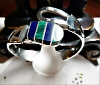 Vintage HEAVY Sterling Taxco Mexico Blue Lapis Spring Hinge Bangle Bracelet 190