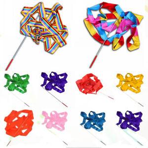 4M Flexible Dance Ribbon Gym Rhythmic Art Gymnastic Charming Twirling Rod Stick