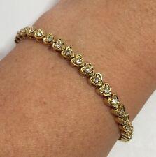 "Vintage 14k Yellow Gold 2 Ct Diamond HEART VS Pave S Link Tennis Bracelet 7.25"""