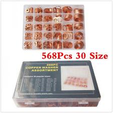 Car 568Pcs 30 Sizes Copper Crush Washer Gasket Set Flat Ring Seal Assortment Kit