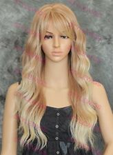 Light Blonde Mix Long Wavy Heat Safe Synthetic Hair Wig LARGE CAP SAFA 27/613