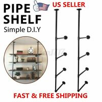 4-Tier Iron Industrial Pipe Shelving DIY Shelf Bookshelf Bracket Organizer Rack