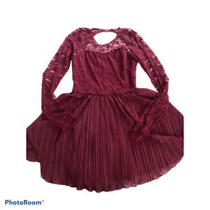 Balera MA Dance Dress Burgundy Ballet Jazz Ice Lyrical Costume Lace Top Sz 8/10