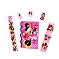 New Minnie Mouse Pink Pencils Note-Pad Eraser Sharpener Ruler Stationery Set