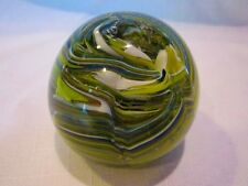 VINTAGE ART GLASS PAPERWEIGHT COLORFUL SWIRLS MULTI COLOR