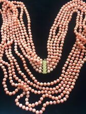 Neiman Marcus Genuine Pink CORAL Gold Diamond Clasp 161+ Gram 5 Strand Necklace