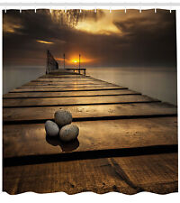 Scenic Wooden Bridge Black Sea Dusk Sunrise Tranquil Extra Long Shower Curtain