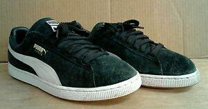 Men's Puma Suede Black Suede Laced Casual Athletic Shoes