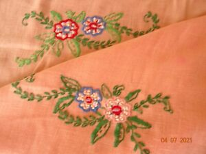Vintage HAND EMBROIDERED TABLECLOTH ~ Peach Linen  ~crocheted corners
