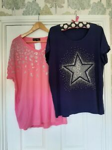 Frank Usher Embellished Set of 2 Tops. Size M Navy Hot Pink BN RRP £55