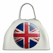 Rustic Distressed United Kingdom British Flag White Cowbell Cow Bell Instrument