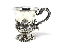 A Lovely Georgian Antique C1833 Solid Silver Embossed Cup Goblet Tankard #ST