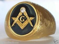 Vermeil 925 Sterling Silver Black Enamel Clear Crystal Mason Masonic Men Ring 12