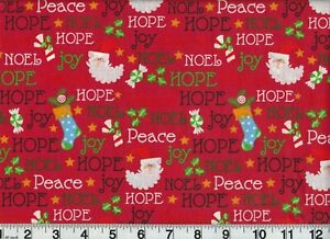 Vintage Christmas Jolly Santa Cotton Fabric Holiday Peace OOP New Old Stock