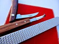 """14"""" Farriers Horse Double Side  Rasp + folding Knife + Hoof Knife/ Wooden Handle"""