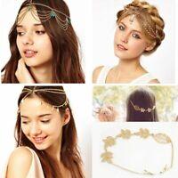 Women Bohemian Headband Tassel Leaf Headpiece Handmade Head Chain Bead Hair Band