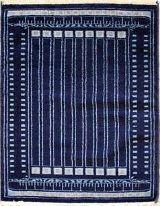 Rugstc 2x3 Senneh Gabbeh Blue Area Rug,Vegetable dye, Hand-Knotted,Wool Pile