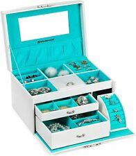 SONGMICS Jewellery Box Jewellery Case with Drawers Organiser - White JBC211W NEW