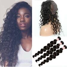 Brazilian  Body Wave Virgin Hair 360 Lace Band Frontal With Cap + 3Bundles/150g