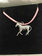 Zebra R116 English Pewter Emblem on a Pink Cord Necklace Handmade