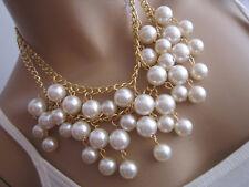 Modekette Damen Hals Kette Collier kurz Modeschmuck Perlen Weiss Gold Statement