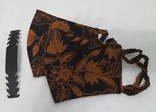 2-pack Hand Made (XXL) Extra Large Batik Black Face Mask Cotton Washable Elastic