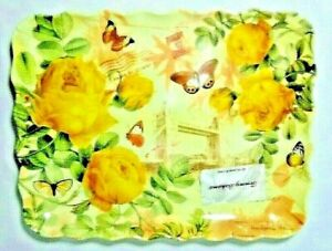 Tommy Bahama Serving Tray Platter French Postage Stamp Yellow Roses Butterflies
