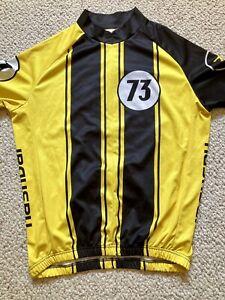"Nashbar 1/2 Zip Short Sleeve ""73"" Cycling Jersey Men's Size L Large Yellow/Black"