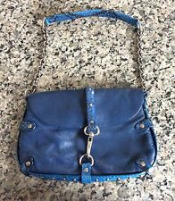 CYNTHIA ROWLEY Small Blue Leather Shoulder Bag - Flap/Hook & Snap -Chain Strap
