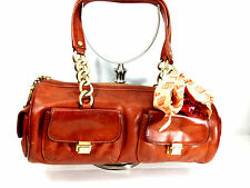 Juicy Couture Rear Red Brown  Leather  Duffle  Roll Bag