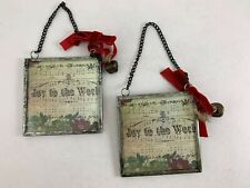 Set Of 2 Antique Picture Frame Christmas Ornaments Two-Sided Christmas Carol